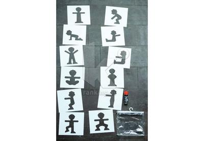 Plantillas Motricidad Gigantes. Set 12 piezas. Marcas siluetas