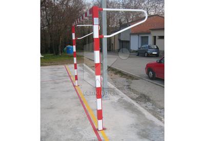 Jgo. Porterías Fútbol-Sala / Balonmano Aluminio 8 x 8 cm. Para anclar. Con base